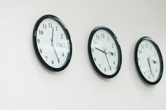 Row of round clocks on the wal Stock Image