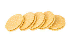 Row of round cookies with stuffed isolated on white Royalty Free Stock Images