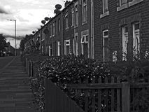 Row upon row. Black and white street view of an old pit town terrace Royalty Free Stock Photography