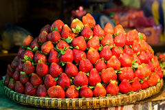 Row upon row of fresh, juicy  garden strawberries for retail sal. E at an outdoor market Royalty Free Stock Image