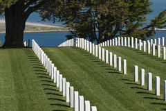 Fort Rosecrans Military Cemetery, California. Row upon row of headstones mark the resting place of dead soldiers buried on Point Loma, in the Fort Rosecrans Stock Photo