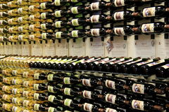 Row upon row of varieties in wine, The Adirondack Winery, Lake George, New York, 2016 Stock Photography