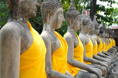 Row of Ruin images of Buddha Stock Photography