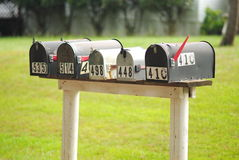 Row of Rural Mailboxes Stock Photo