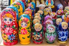 Row of Russian Matrushka Nesting Dolls Stock Photo