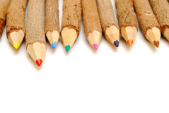 Row of rustic pencils Stock Photography