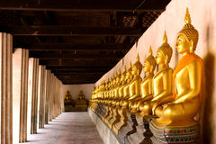 Row of sacred Buddha images in Putthaisawan Temple, Thailand Royalty Free Stock Images