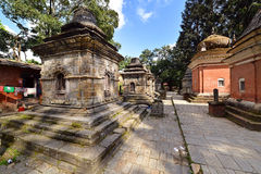 Row of sacred Hindu temples in Pashupatinath, Nepal Royalty Free Stock Photo