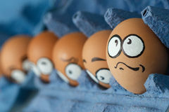 Row of sad  frightened egg faces in blue panel Royalty Free Stock Image