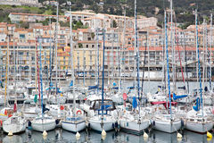 Row of Sailboats moored in Sete France Royalty Free Stock Photography
