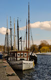 Row of sailing boats mooring in stockholm Stock Photography