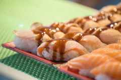 Row of salmon sashimi Royalty Free Stock Images