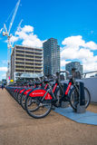 A row of Santander Cycles in the Olympic park, London UK Royalty Free Stock Photos