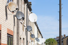 Row of satellite dishes Royalty Free Stock Photos