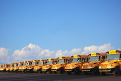 Row of School Buses. On sunny day with clouds and blue sky royalty free stock image