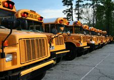 Row of school buses. A long row of parked public school buses stock photos