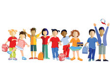 Row of school children. Colorful illustration of a row of school children some with school bags and books, white background stock illustration