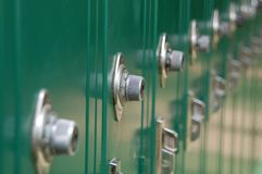 Row of School Lockers. A row of old, green school lockers Stock Images