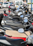 Row of Scooter Mirrors. Long Row of Scooter Mirrors Royalty Free Stock Photos