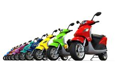 A row of scooters concept Stock Photo
