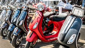 Row of scooters Stock Images