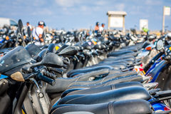 Row of scooters on the parking,formentera,spain Stock Photo