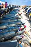 Row of scooters on the parking,formentera,spain. Europe Stock Images