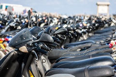 Row of scooters on the parking,formentera,spain. Europe Royalty Free Stock Photo