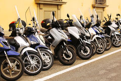 Row of scooters on the street Stock Photography