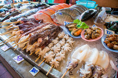 Row of seafood in the Asian market Stock Photos