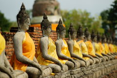 Row of Seated Buddhas. Row of seated Buddha statues at Wat Yai Chai Mongkol aka the Grand Temple. The ancient capital of Thailand, Ayutthaya Royalty Free Stock Image