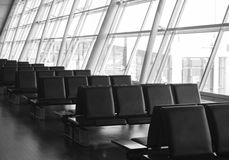 Row of seats in an airport terminal Royalty Free Stock Image