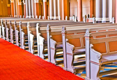 Row of seats in the Markt Kirche in Wiesbaden Royalty Free Stock Image