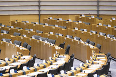 Row of seats at the Plenary Chamber at the European Parliament Stock Photo