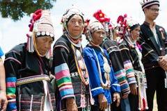 Row of senior Akha hill tribe minority. Stock Photos