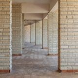 Row of sequential stone brick walls stock photo