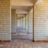 Row of sequential stone brick walls royalty free stock photography