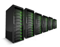 A row of Servers with green lights on. A row servers with green lights on Royalty Free Stock Image