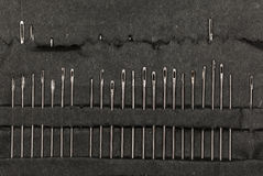 Row of sewing needles in case Royalty Free Stock Photos