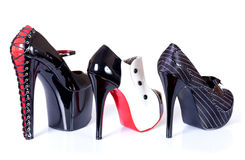 Row of sexy female shoes Royalty Free Stock Photos