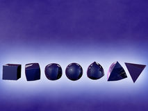 Row of shape shifting objects. A row of morphing geometric objects floating in a blue space Royalty Free Stock Photo
