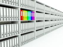Row of shelfs with folders Stock Photo