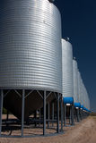 A row of shiny, steel grain silos in a field Royalty Free Stock Image
