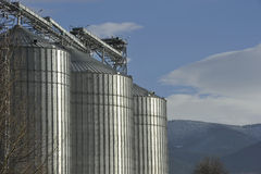 A row of shiny, steel silo Royalty Free Stock Images