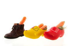Row shoes with carrots for Dutch Sinterklaas Stock Photo