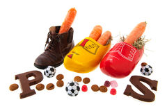 Row shoes with carrots for Dutch Sinterklaas Stock Photography