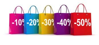Row shop bag Stock Photography