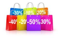 Row shop bag Stock Photos