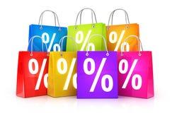Row shop bag and percent Stock Photos