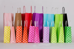 Row of shopping bags. Row of colorful shopping bags Royalty Free Stock Images